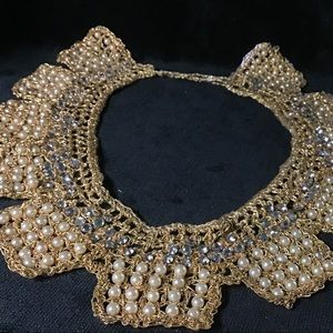 🎁STUNNING Vintage Woven Gold and Pearl Necklace
